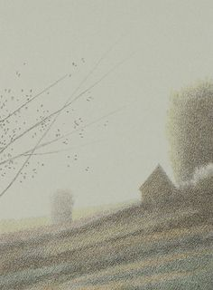 """""""A Small Gray House""""  Color lithograph 4"""" x 3""""  1982"""
