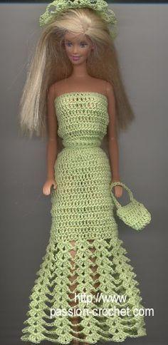 Robe de soir�e au crochet pour Barbie  W/PATTERN