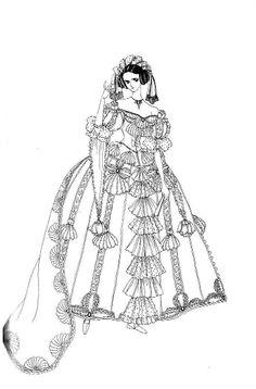 Sketch of aristocratic lady by manga artist Reiko Shimizu.