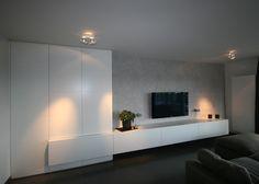 TV-meubel met draaideuren Living Room Tv Unit, Home Living Room, Interior Design Living Room, Living Room Designs, Living Room Decor, Tv Wall Design, House Design, Muebles Living, Tv Wall Decor
