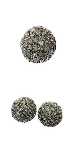 Findings and Stampings 165142: 8 Mm 925 Sterling Silver Bead Diamond Pave Handmade Ball Spacer Finding Jewelry BUY IT NOW ONLY: $103.0
