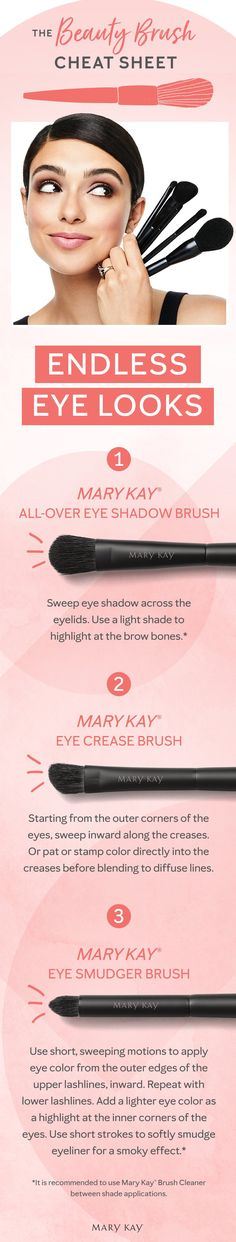 Makeup Tips : Three brushes. Endless eye makeup looks. Tip: For true color use Mary Kay Bru Mary Kay Cosmetics, Maquillage Mary Kay, Mary Kay Brushes, Eye Color Chart, Self Tanning Spray, Smudged Eyeliner, Makeup Charts, Beauty Brushes, Mary Kay Makeup