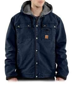 Carhartt Mens J284 Sandstone Hooded Multi-Pocket Jacket Sherpa Lined - Midnight | Buy Now at camouflage.ca