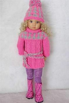 """SWEATER,HAT,LEOTARD,SCARF&BOOTS SET MADE FOR KIDZ N CATS &SIMILAR SIZE18"""" DOLL"""
