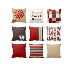 Throw Pillow Red Brown Tan Ruby Tortilla Chocolate Modern Geometric Contemporary Home Decor Couch Cushion