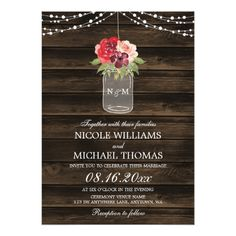 Rustic Burgundy Flowers Mason Jar Fall Wedding Card