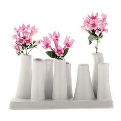 AmazonSmile : Chive - Pooley 2, Ceramic Flower Vase, 8-Tube Shape, White Assortment : Patio, Lawn & Garden