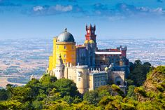 The Palacio Nacional da Pena (Pena Palace), or Sintra Castle in Sintra, Portugal. Visit Portugal by train. Coloring page of Sintra in this independent artist's Portugal Coloring Book: http://amzn.to/2mjma09