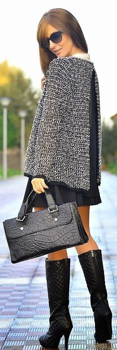 Grey Boucle Knitted Chanel Inspired Jacket... but I love the boots more :)