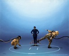 "OLYMPIC GAMES 2012, Aug 11th:Wrestling Men's 120kg Freestyle Final  pic: ""COMBAT DE GEANTS""  - Giants combat- oil on canvas by Pascal Lecocq, The Painter of Blue ®, 16""x20"" 41x51cm, 2002, lec613, private collection Niolon, France. ©www.pascal-lecocq.com."
