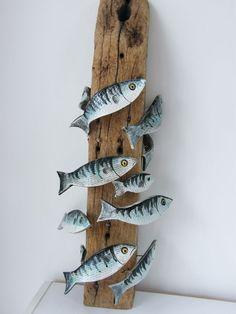 ceramic fish on driftwood post. ceramic fish on driftwood post. Driftwood Fish, Driftwood Crafts, Fish Crafts, Beach Crafts, Ceramic Animals, Ceramic Art, Pottery Animals, Fish Sculpture, Sculptures