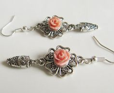 Peach Owl earrings, by romanticcrafts, $7.00