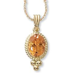 """14K Yellow Gold 8x6mm Rimmed Citrine Pendant On 18"""" Chain - Item #: 05-144-33 - Regular price:$303.99Sale price:$224.99 You Save: 26% www.JewelsObsession.com"""