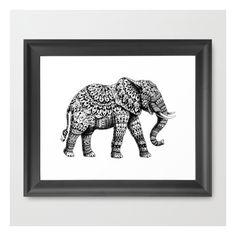 Ornate Elephant 3.0 Framed Art Print (£27) found on Polyvore featuring home, home decor, wall art, framed art prints, black wall art, black and white wall art, elephant wall art, black and white home decor and black framed wall art