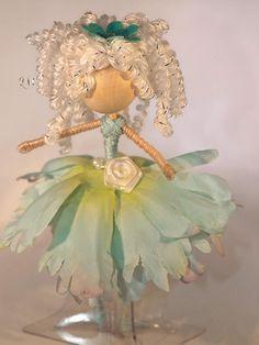 Flower fairy doll Aqua petal dress and curly white hair- by WishHazelFairies on Etsy Fairy Crafts, Doll Crafts, Diy Doll, Fairy Hair, Mermaid Dolls, Clothespin Dolls, Flower Fairies, Fairy Dolls, Felt Dolls