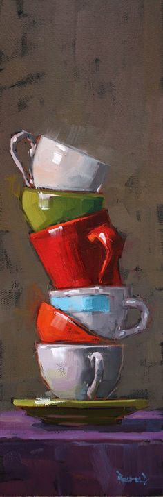 Symmetrische compositie is een schilderij waarop voorwerpen vertical of horizontaal staan.Gorgeous colors; perfect highlight. Amazing talent! *sigh* (Cathleen Rehfeld Daily Painting: Study for Six Cups. )