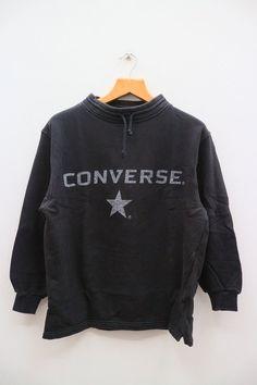 1bbd3447a483 Vintage CONVERSE All Star Chuck Taylor Big Spell Big Logo Streetswear Black  Pullover Sweater Sweatshirt Size M
