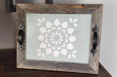 Rustic Tray - Barn Wood Frame - Paint Stenciled - Black Metal Handles - Farmhouse Decor by GumberryGlass on Etsy