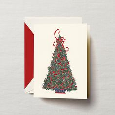 Hand Engraved Traditional Tree Greeting Card: Simply stunning, a classically decorated tree compliments any perfectly trimmed parlor. It also compliments your thoughtful personalized greeting inside this engraved holiday card.
