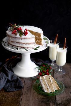 Spiced rum cake with eggnog frosting