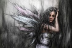 """""""Fairy"""" is a surreal portrait of a beautiful and mysterious fairy in a dark, abstract forest. It was created with a combination of digital painting and photo manipulation using Corel Painter, Adobe. Magic Realms, Dark Drawings, Corel Painter, Fantasy Portraits, Digital Portrait, Fairy Art, Faeries, Fine Art America, Art Prints"""