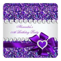 Elegant Glitter Purple Heart Bow Birthday Party Card