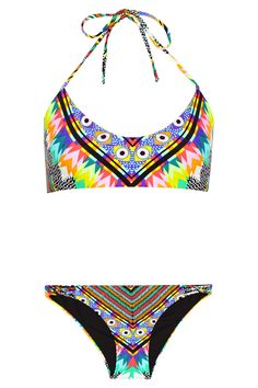 Mara Hoffman|Basketweave-detailed printed bikini|NET-A-PORTER.COM [@its_helenxx]