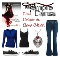 """""""The Vampire Diaries: Elena Gilbert"""" by infinity-alex ❤ liked on Polyvore featuring Converse, Doublju and Phase Eight"""