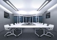 White folding meeting room table and silver chairs / ORDER NOW FROM SPACEIST