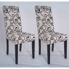 Parson Cream and Black Rubber Wood Dining Chairs (Set of 2) | Overstock.com