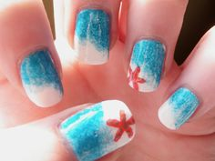 Ready for the beach nail art. Not me but cute. I know the method for this is seafoam. So easy to do.