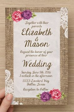 50 Custom Shabby Chic Wedding Invitation and RSVP Cards - PRINTED - Great for Vintage, Country Chic, Rustic and Fall/Spring Weddings! Burlap