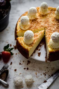 This super easy and creamy Coconut Cheesecake is perfect for Easter time. Coconut Cheesecake Recipe by Also The Crumbs Please #coconut #cheesecake #coconutcheesecake #baking #easter #easterbaking Perfect Cheesecake Recipe, Coconut Cheesecake, Chocolate Cheesecake Recipes, Best Cheesecake, Easy Cheesecake Recipes, Pumpkin Cheesecake, Dessert Recipes, Sweet Tarts, Pastel