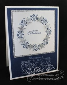 Christmas Wreath using Daydream Medallions with Deb Valder - Stampladee - Deb Valder - Paper Crafter Extraordinare Merry Christmas Card, Stampin Up Christmas, Xmas Cards, Handmade Christmas, Holiday Cards, Winter Cards, Christmas Wreaths, Christmas Holiday, Christmas Paper