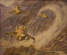 Soviet Mi-24 Hind advancing in Afghanistan