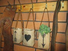 Set+of+3+Hessian+Burlap+Vase/Candle/Plant/Anything+Holder+with+Leather+Strap