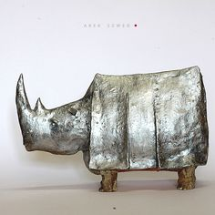The Silver Rhino / Ceramic Sculpture / Unique Figure by arekszwed on Etsy
