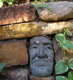 I love little surprises in the garden like this stone face in the stone fence