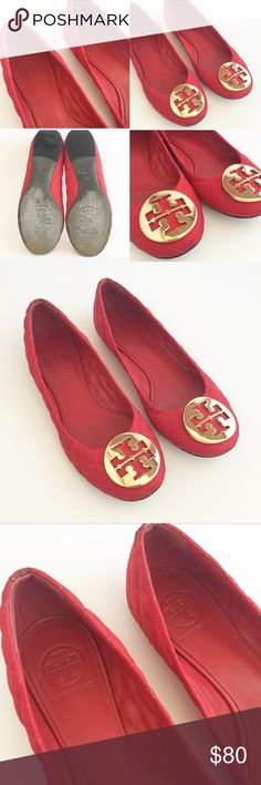 Tory Burch Quinn Flats Tory Burch Quinn Quilted Flats, these are in really good condition,  size 6, worn twice, it's a fabric nylon material for comfort, leather bottom sole for easy shoe repair in the future. Tory Burch Shoes Flats & Loafers