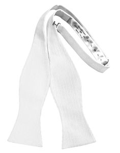 White Faille Silk Self Bow Tie White Color Formal Bow Tie 100% Faille Silk Fabric Self-Tie and Adjustable For Easy Sizing Fits up to a 18