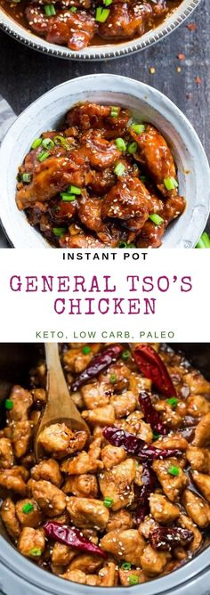 Instant pot general tso's chicken - keto, low carb, paleo General Tao Chicken, Poulet General Tao, General Tso, Instant Pot Dinner Recipes, Instant Pot Chinese Recipes, Recipes Dinner, Diet Plan Menu, Pressure Cooker Recipes, Slow Cooker