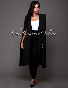 Chic Couture Online - Carmelle Black Luxe Long Cape Jacket.(http://www.chiccoutureonline.com/carmelle-black-luxe-long-cape-jacket/)