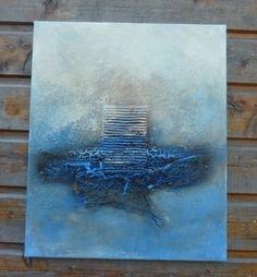 tableau powertex ivoire, bister et powertex bleu, trés beau craquelé