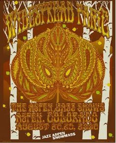 Original silkscreen concert poster for Widespread Panic at The Aspen Jazz Shows in Aspen CO in 2008. 16 x 20 inches 6 color silkscreen print.  Signed by artist Richard Biffle.