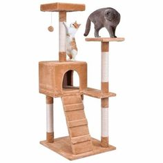 Goplus Cat Tree Wood Cat Jumping Toy with Ladder Scratching Posts Modern Climbing Tree for Cat Kitty Play House Tower Cat Lover Gifts, Pet Gifts, Pet Lovers, Nest Furniture, House Furniture, Furniture Ideas, Tree Bed, Cheap Pets, Cat Tree Condo
