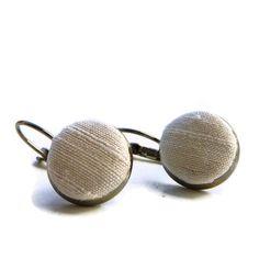 Earrings cream silk drop euro earwires by kwurkee