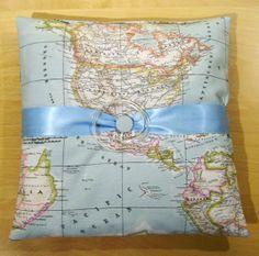 Map ring bearers pillow  blue ring bearers pillow  map by chezlele, $25.99