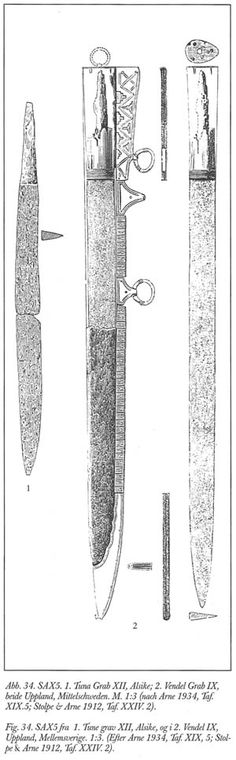 Seax. Vendel, Uppland. Drawing from the Historical Museum in Stockholm.