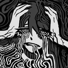 Arte Emo, Dark Anime Girl, Vent Art, Arte Obscura, Gothic Anime, Creepy Art, Cartoon Art Styles, Cybergoth, Horror Art