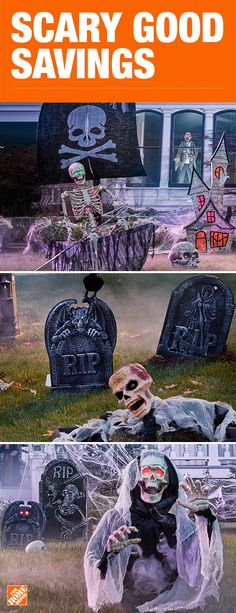Create an authentic haunted house on your lawn this Halloween with scary skeleton decor. Complete with headstones, spider webs and crows, your home will surely be the most terrifying on the block. Click to shop scary good savings on Halloween decor, available only at The Home Depot.
